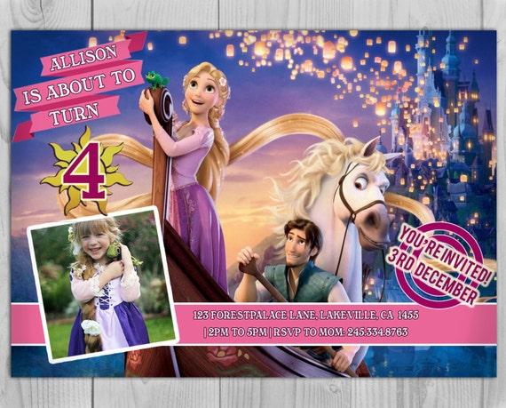 Rapunzel Invitation - Rapunzel Invite - Tangled Invitation - Tangled Invite - Rapunzel - Tangled - Rapunzel Birthday - Tangled Birthday
