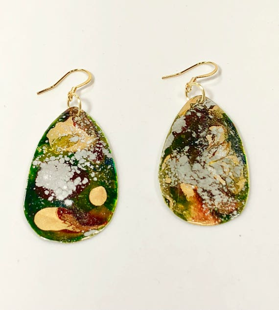 SJC10084 - Handmade drop-shape enamel earrings with abstract designs (green/orange/red/gold/silver) with 14K gold plated ear wires