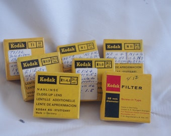set of vintage Kodak lenses and filter (6 lenses and a filter) for analog camera