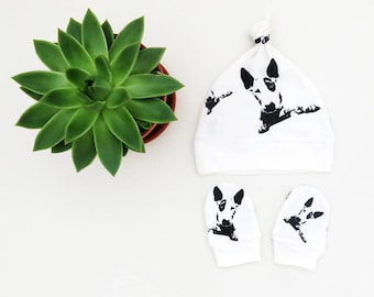 Bull Terrier Organic Cotton Baby Hat And Scratch Mittens Set, Baby Shower Gift Girl, Baby Boy Hat, Newborn Gift, New Parents, Organic Gifts