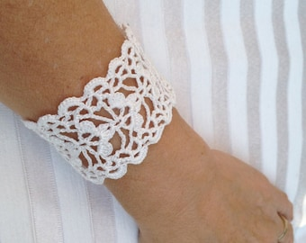 PDF Tutorial  Crochet Pattern,  Lace  Cuff Bracelet,  Wedding Accessory
