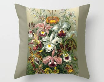 Decorative Throw Pillow Cover or Shams - Square, Rectangular, Botanical, Vintage, Indoors, Outdoors, Gift, Orchids, Floral, Flower, Nature