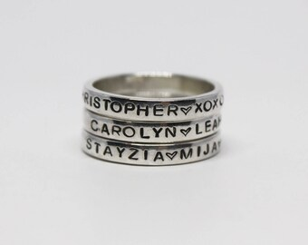 Sterling Silver Stackable Ring • Personalized Ring • Hand Stamped Ring