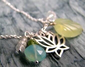 Yoga jewelry lotus blossom charm sterling silver healing gemstones Garden of Eden