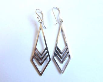 Arrow dangle earrings handmade, White Brass Chevron earrings, Gift boxed, Free UK post  Elegant Chic Boho