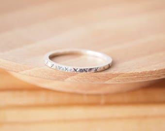 Promise Ring - Stamped Silver Ring - Kiss Plain Band - Sterling Silver Minimalist Ring - Engagement band