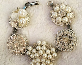 Vintage Crystal and Pearl Button Charm Bracelet