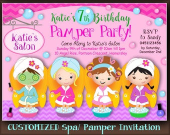 CUSTOMIZED PAMPER POOL Party Invitation Pedicure Party