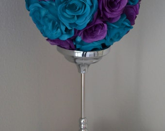 TEAL And PURPLE Flower Ball MIX, Wedding Centerpiece. Pomander. Kissing Ball. Flower Girl.