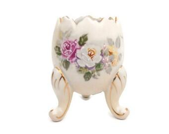 Vintage INARCO Japan Hand Painted Roses Moriage Porcelain 3 legged Egg Shaped Vase Gold Leaf Accents
