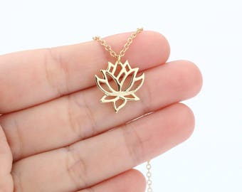 Lotus Necklace, Spiritual Necklace, Simple Necklace, Minimalist Necklace, Layered Dainty Necklace FSABAP