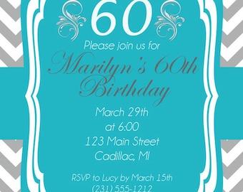 60th Birthday Invitation, Adult Party Invitation, Grey Chevron DIY Printable - Any Age