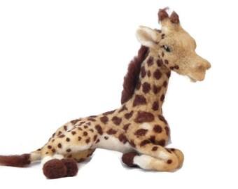 Needle felted Giraffe Sculpture. African plushie, Giraffe Art
