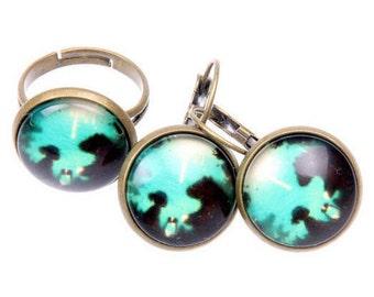 My friend bear jewelry set, bear earrings, bear ring, 1616