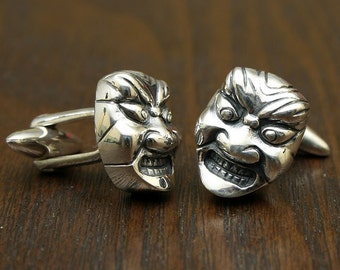 Japanese Theater Mask Cufflinks, Sterling SIlver