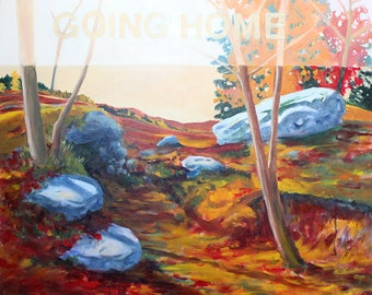"""going home: autumn - painting 36"""" x 32"""""""