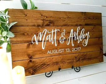 Wedding Guest Book Sign Custom Hand Lettered Wooden Guestbook Sign Signature Sign Rustic Wedding Guest Book Alternative Wedding Signage