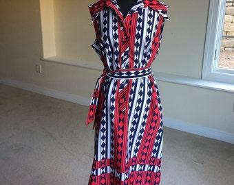 Lanvin Modern Geometric Print Belted Dress 1970