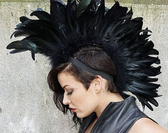 Black Feather Mohawk HDMH-CQ10--BL-IRID Zucker Feather Place Original Designs