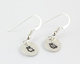Handstamped Owl Earrings - Sterling Silver Hoot Owl Dangle Earrings