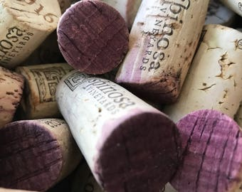 50 Used Stained RED WINE Corks - 100% Natural Wine Corks - Cork Craft Supply