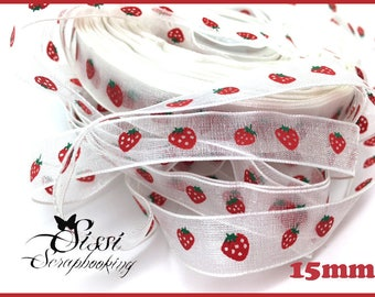 Red Green FRUIT 15mm GLUTTONY Strawberry set 2M white ORGANZA Ribbon