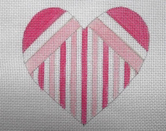 "Needlepoint Canvas Handpainted 4"" Pink, White and Dark Pink Striped Heart on 18ct."