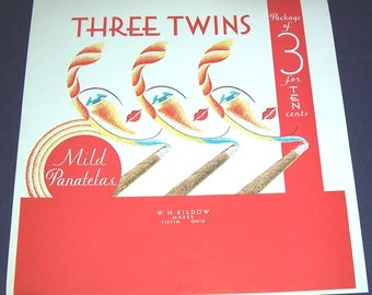 1930s unused Three Twins cigar label