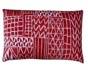 William Yeoward - brick red and beige lumbar pillow
