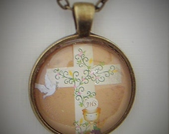 First Communion Dove and Cross Glass Necklace Pendant -  Jewellery Jewelry Gift Present