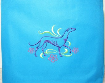 Embroidered 'Graceful Greyhound' Galgo Tote Bag in Turquoise by JeanieSews4Fun