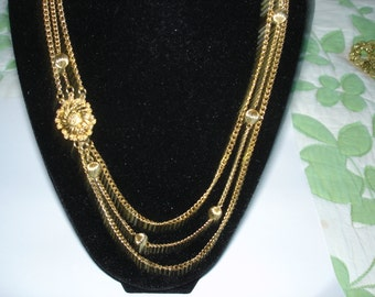 "3 Chain Link Necklace 19"" Plus Gold Tone"