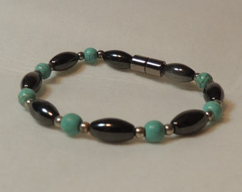 Large Magnetic Hematite Ovals with Turquoise Rounds Bracelet