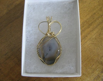 Handcrafted Wire Wrapped Agate Pendant