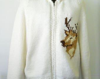 Vintage Cowichan Sweater • Vintage Handmade Cardigan Sweater Deer • Vintage Handmade Zipper Front Sweater Jacket