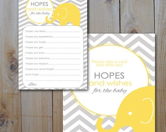 Elephant Baby Shower Wishes and Hopes / Yellow Elephant, Grey Chevron  / Instant Download / PRINTABLE /  61038