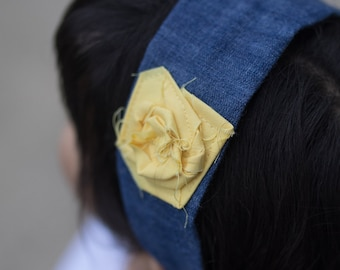 Denim Rose Headband Choose Your Color