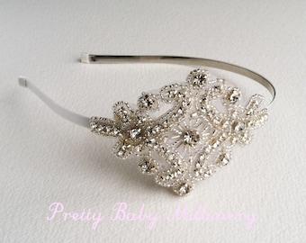 art deco headband, 1920s headband, bridal headband,flapper headband, art deco headpiece, art deco bridal hair accessories SILVER