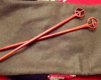 Set of Peace Sign  and Flaming Chalice Hair Sticks from Reclaimed Paduak Wood/Gifts Under 40 Dollars