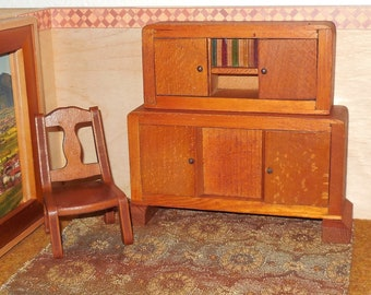 Vintage German Dollhouse Miniature Two-Piece Hutch and Sideboard PLUS Wanner Chair - 1:12 or 10