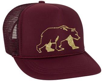 Bear Trucker Hat, Baseball Cap, Foam Front High Profile Trucker Hat, Summer Hat, Unisex Baseball Cap, Cool Trucker Hat, Mesh Back Adjustable