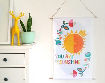 Print Fabric Wall Art / You are my sunshine banner / Large printed wall hanging / Nursery art / Canvas banner / Scandinavian art home decor