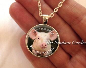 ANIMAL WELFARE PENDANT Vegan Jewelry Vegan Pendant Pig Pendant Animal Welfare Jewelry Animal Lover Gift Compassion Jewelry Vegan Gift
