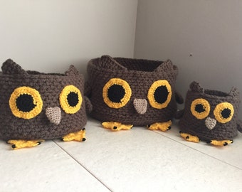 Crochet Owl Storage Basket Pattern - 3 Basket Sizes