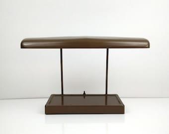 Industrial Mid Century Fluorescent Desk Light / Brown Metal Lamp / Vintage Office Decor