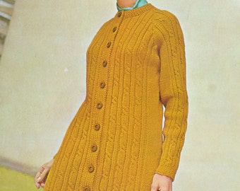 Womens knitted coat dress vintage knitting pattern cable coat dress lady's pdf download pattern only 1960s