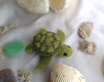 Baby sea turtle in wool felted egg with sea glass and shell treasure