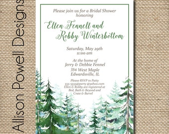 Winter Aspen Engagement Party, Bridal Shower, Wedding, Shower  Invitation - Print your own
