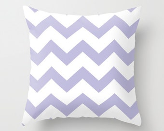 Lilac Chevron Pillow Cover - Lilac and White Chevron Pattern Pillow Cover - Nursery Throw Pillow - Home Decor - includes insert