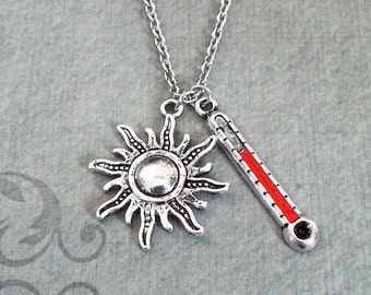 Sun Necklace Sun Charm Sun Jewelry Summer Necklace Summer Jewelry Thermometer Necklace Celestial Necklace Hot High Heat Jewelry Sun Pendant